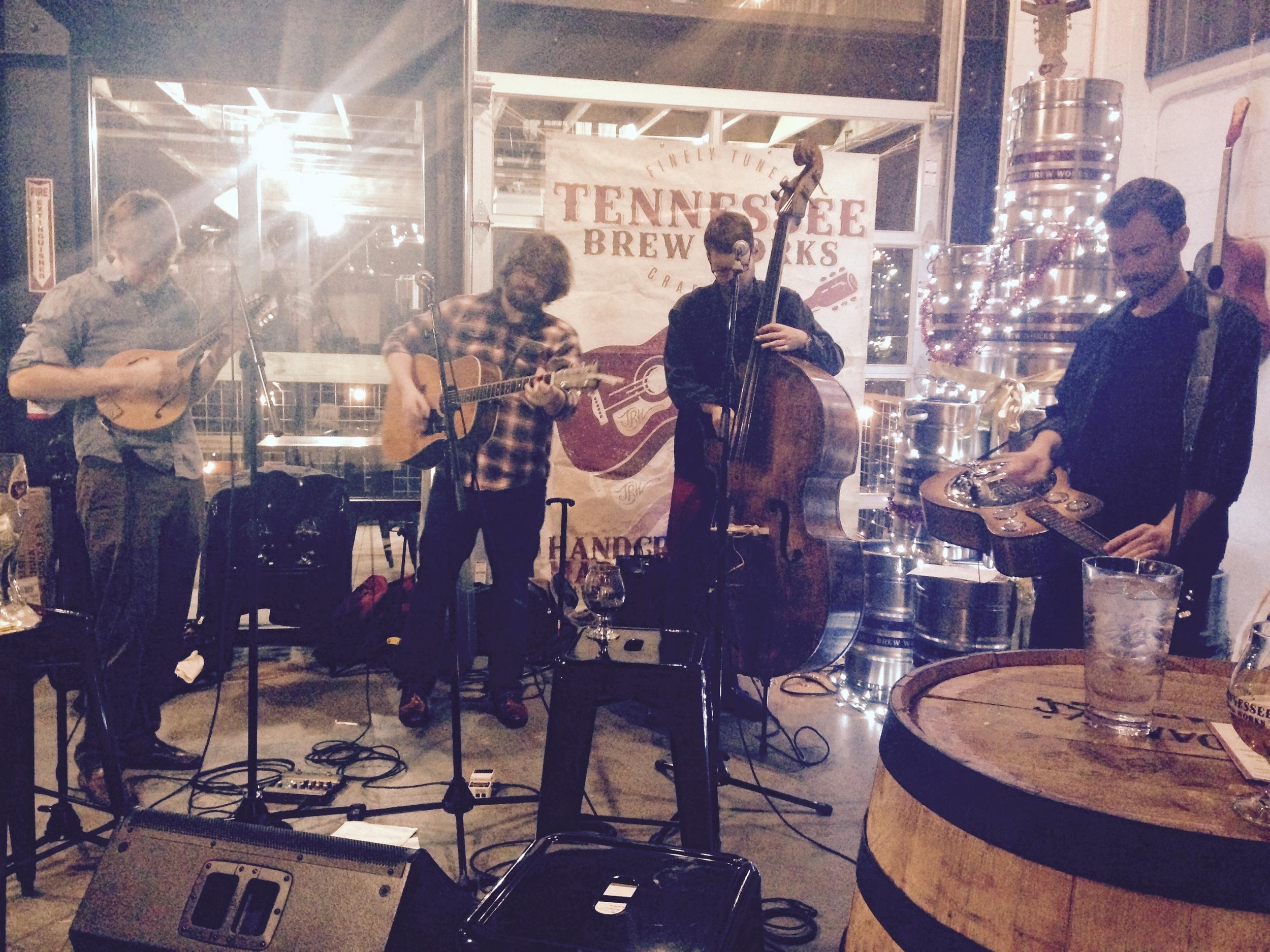 John Beck (Mandolin and Fiddle), Adam Dalton (Guitar), Sam West (Bass) & Charles Butler (Banjo & Dobro)