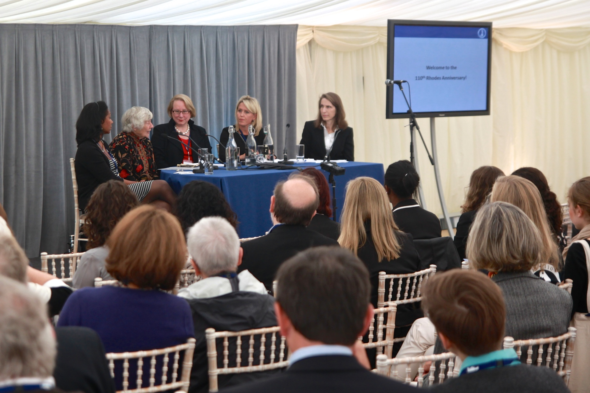 Panelists Karen Stevenson, Dame Shirley Williams, Ann Olivarius, Jennifer Robinson, Michele Warman. Photographed by Honza Cervenka.