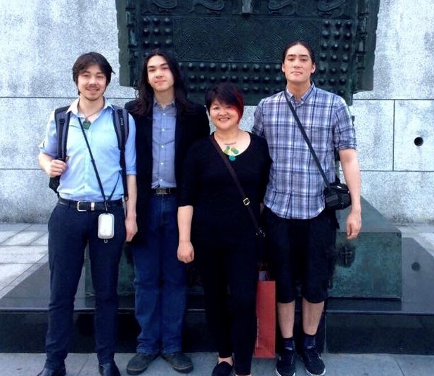 Mindy chen-wishart and her three sons James, max and zachary (left-right).