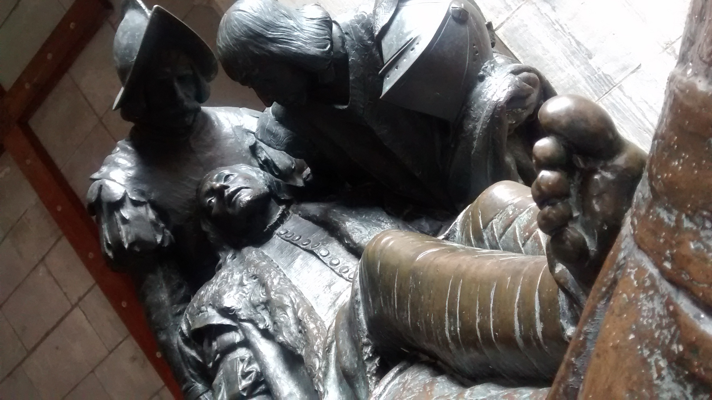 At Loyola castle, Statue of Ignatius after his cannonball wound.
