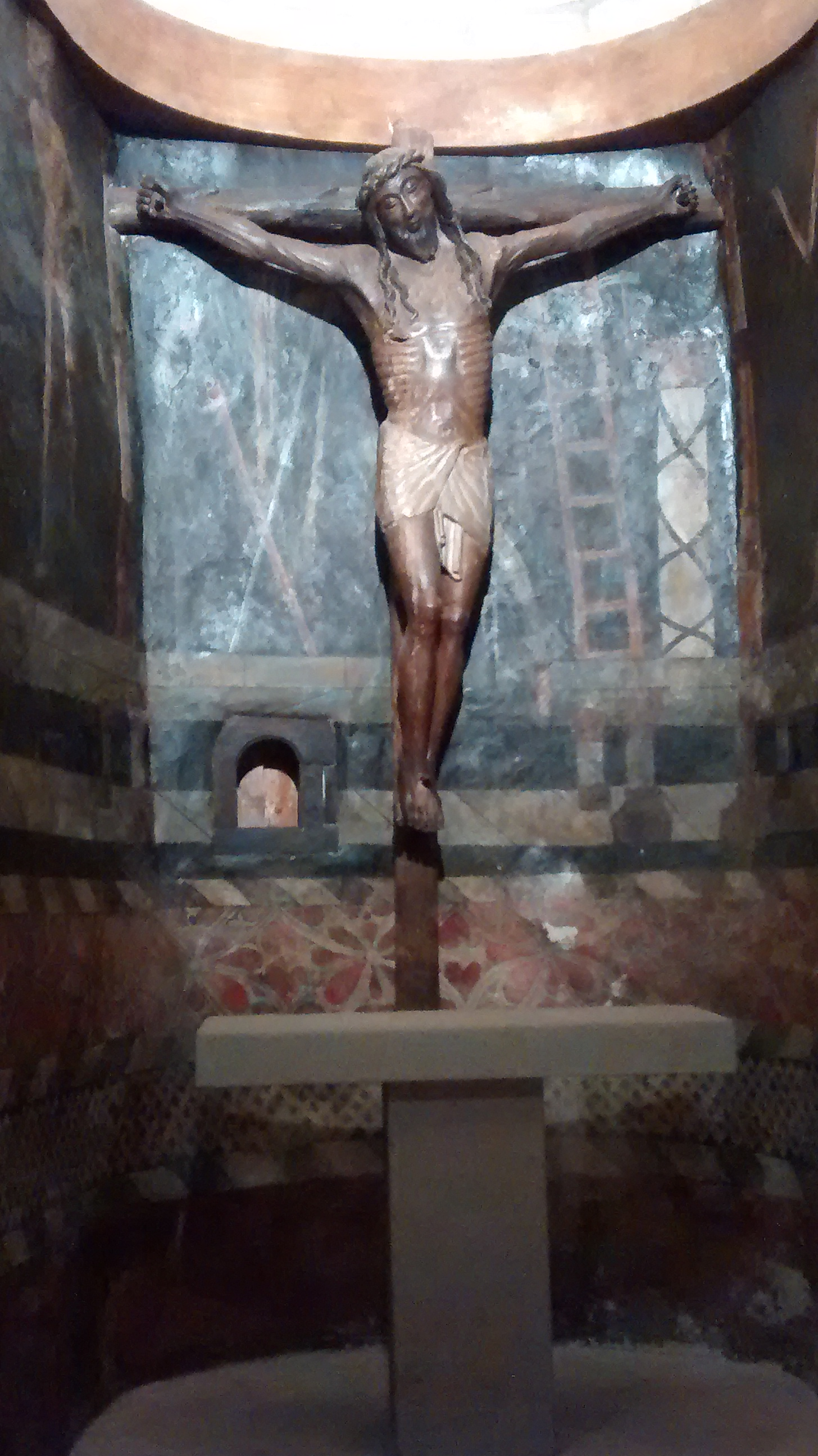 """""""Smiling Christ"""" located in the chapel at Xavier Castle. Circa 1200 a.d."""
