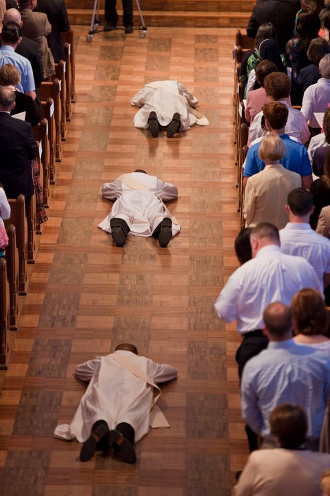 PHOTOS:  after my ordination, with family  interior dome of Loyola Basilica  chapel in Belize, village of San Pedro Columbia  lying prostrate, face down, during ordination Mass