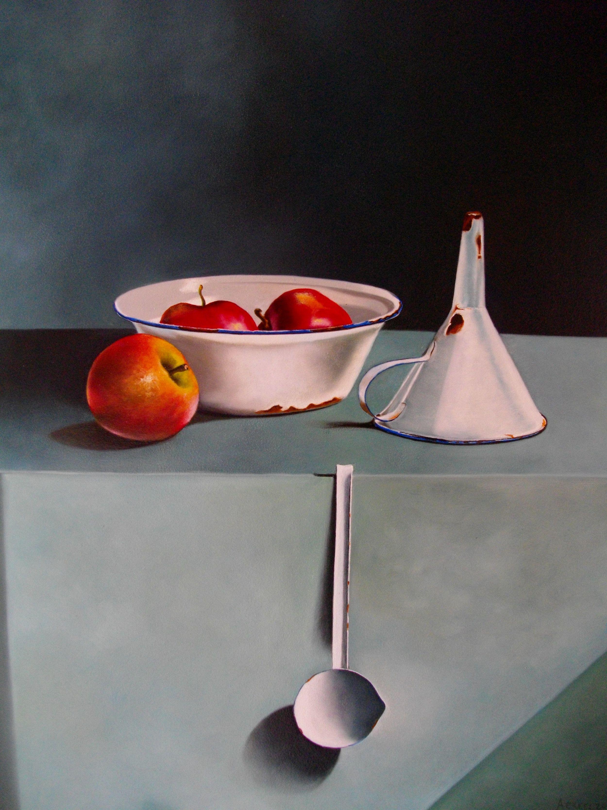 Arie Ekkel, emaille met appels, olieverf op masonite (paneel) 60x50 cm