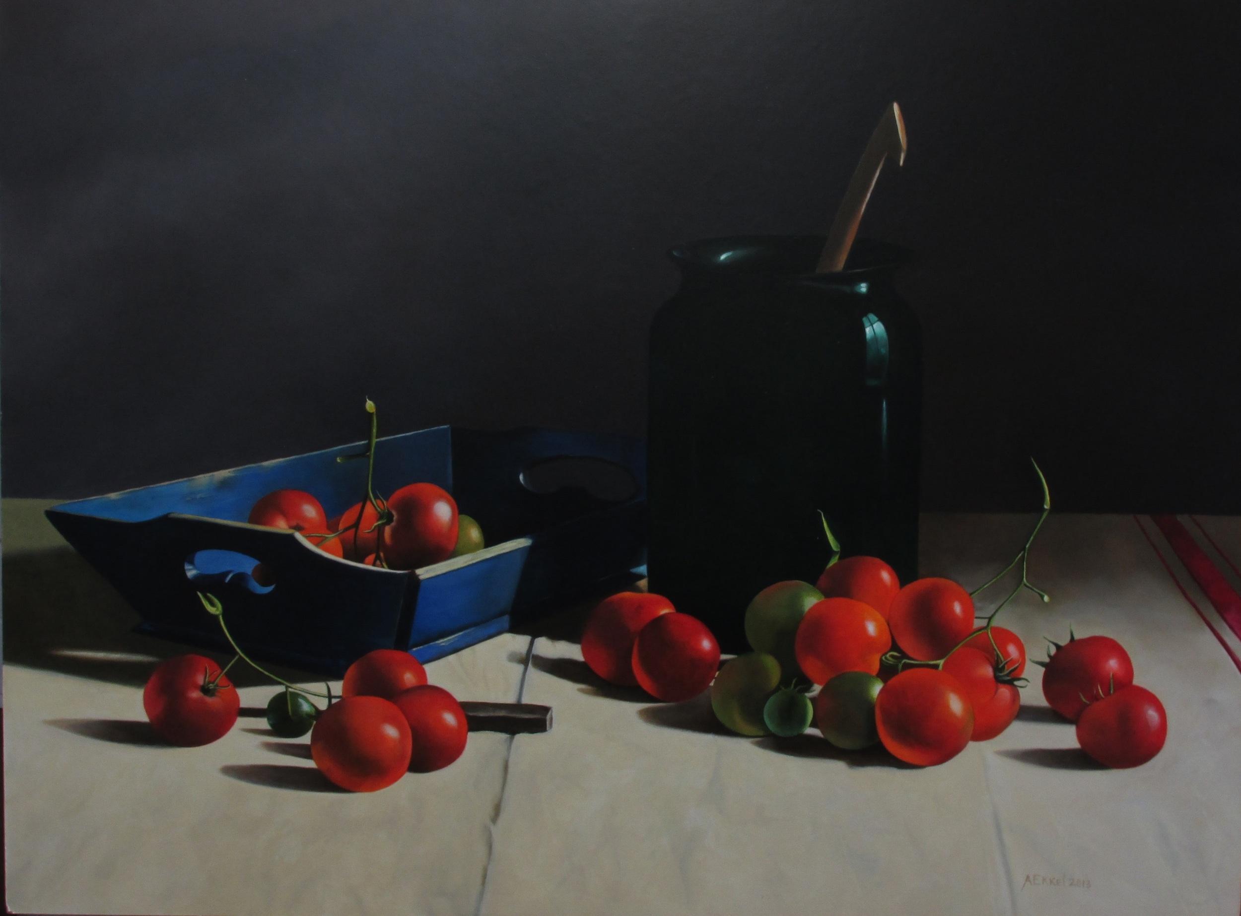 Stilleven met tomaten, olieverf op masonite (paneel) 80x60 cm