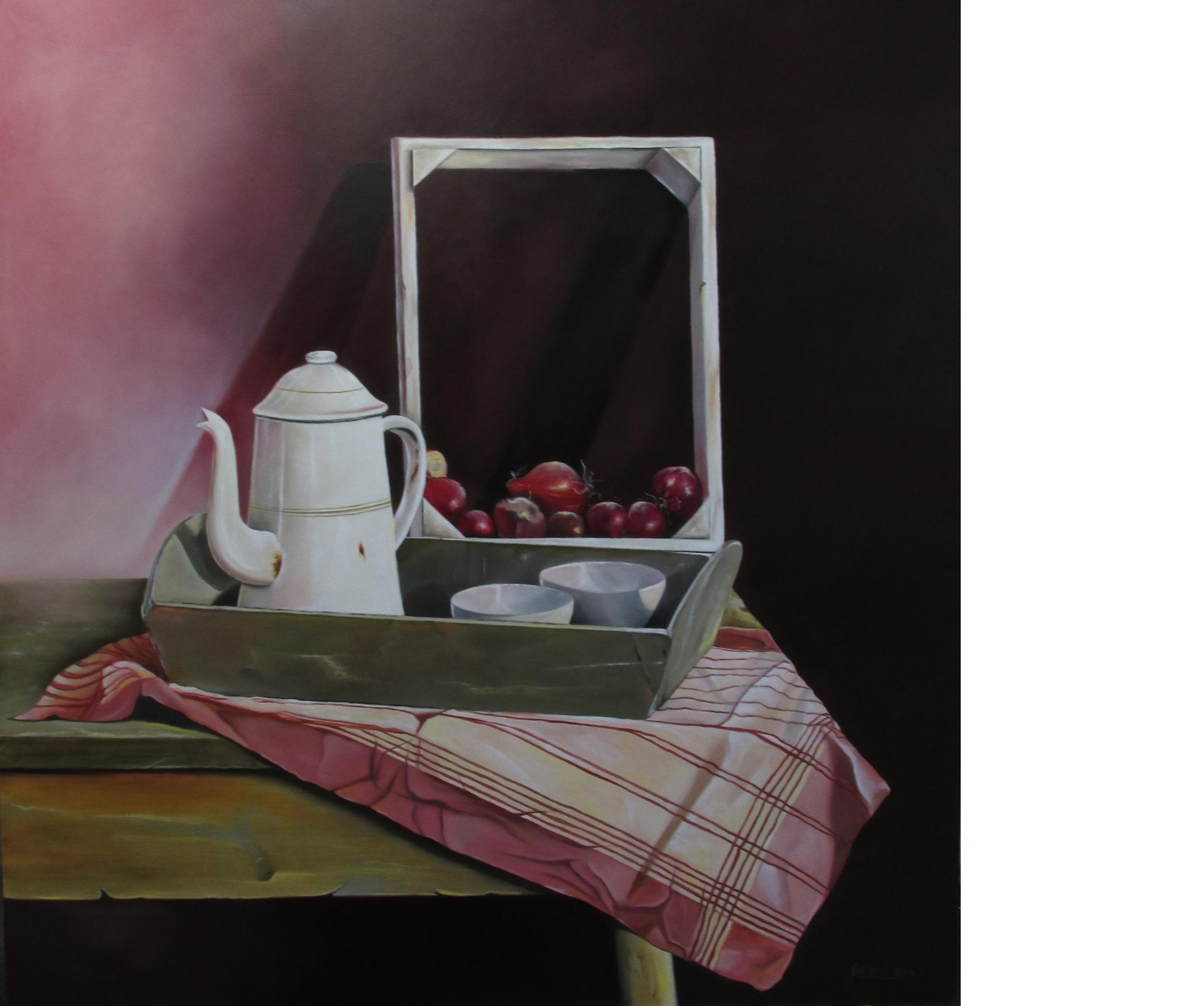 Stilleven met koffiekan en rode uien - olieverf op masonite (paneel) 64x60 cm
