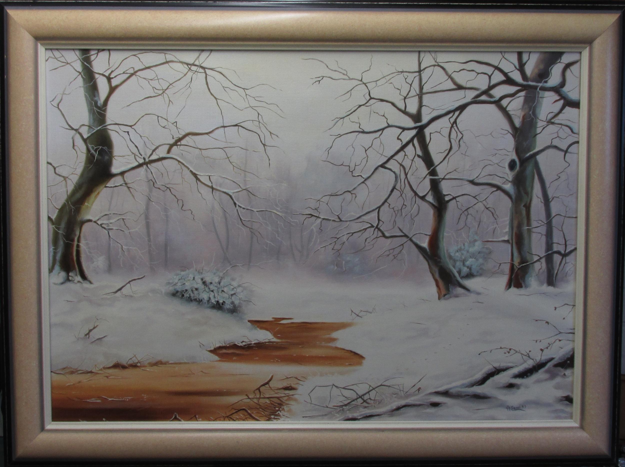 Winterpracht, olieverf op linnen (inclusief lijst) 70x50 cm