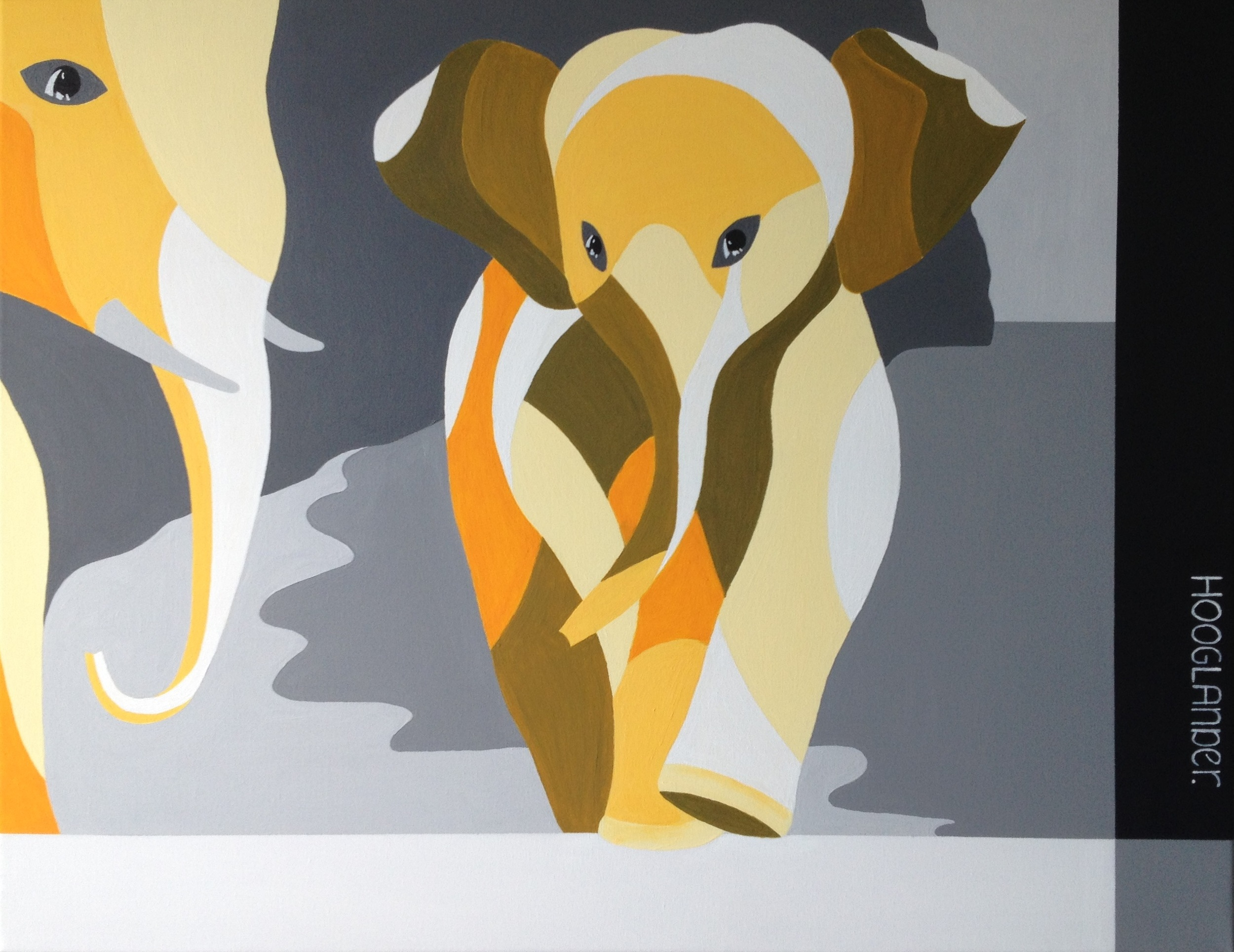 Elephant Baby 70x90 cm acryl