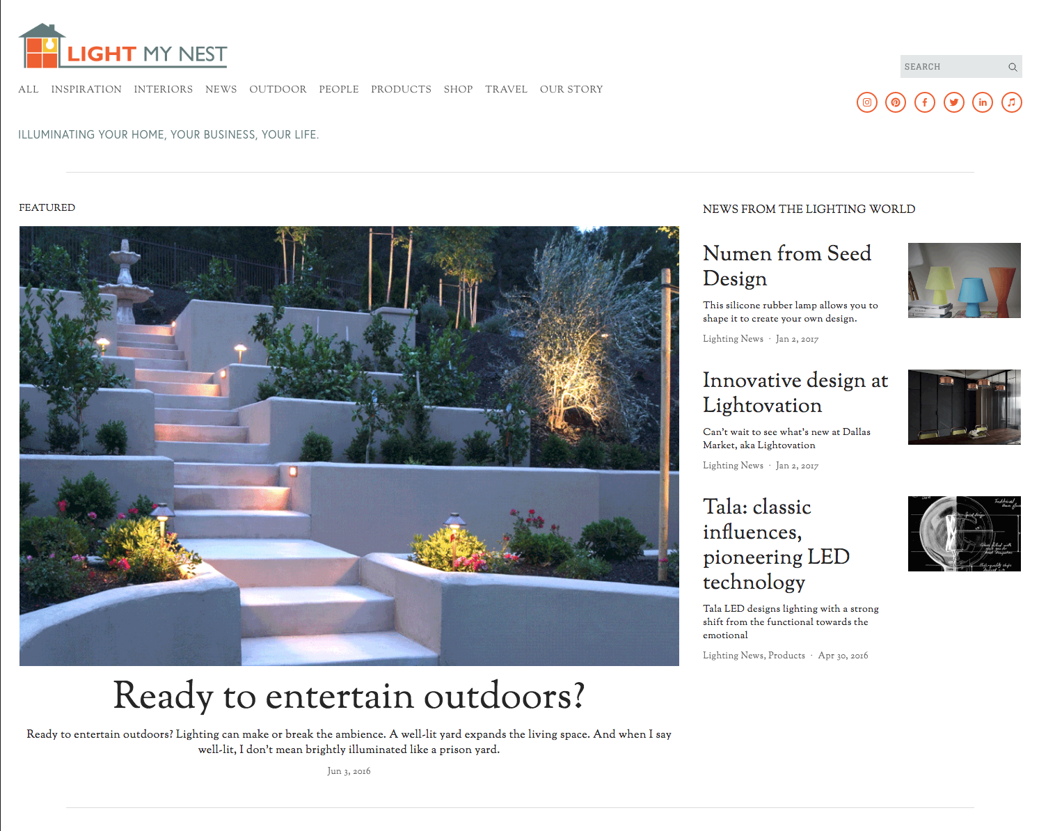 Santa Fe based lighting connoisseur Lette Birn's passion for lighting, design and education was the driving force behind her blog, Light My Nest. She needed a contemporary, clean design to showcase the breadth of her experience in the lighting industry.