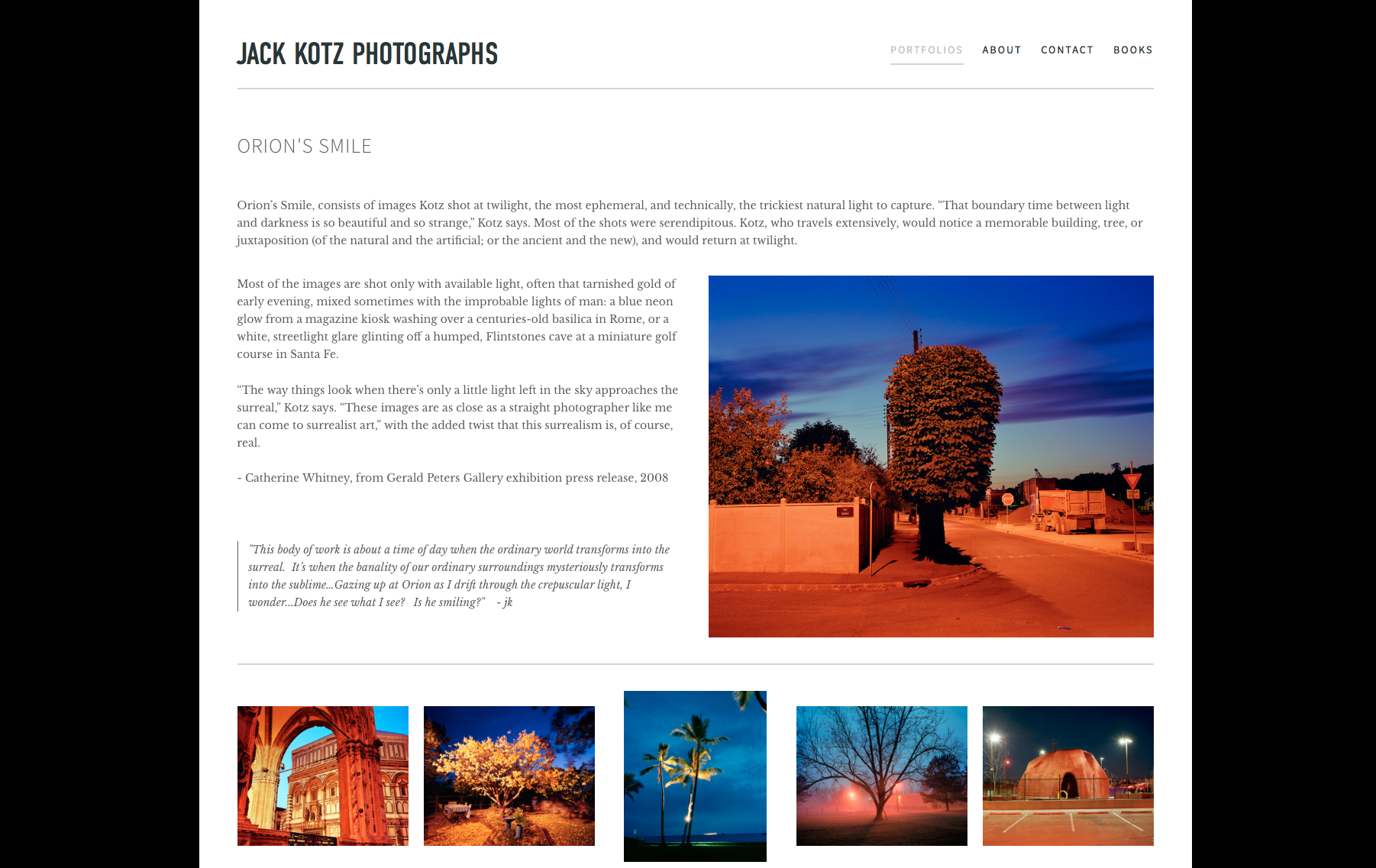 A professional and fine art photographer for over 30 years, Jack Kotz was in need of an updated portfolio site that would showcase is vast archive of images. The expandable, image heavy design of this website is meant to allow the viewer to engage the images similar to a gallery experience, without being inundated by the text and information for each body of work or image.