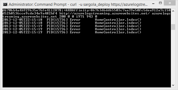 Windows Azure Trace output via /logstream displayed via curl