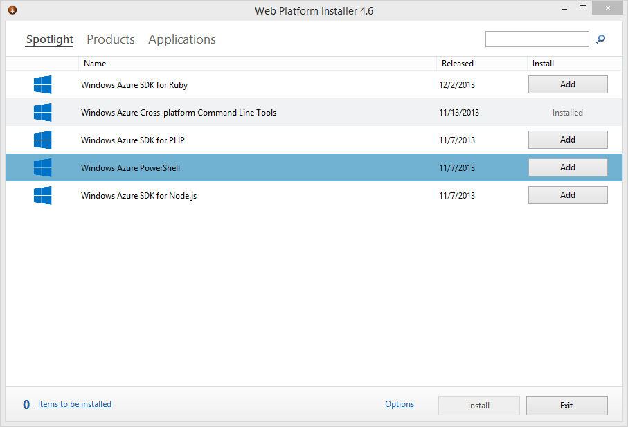 Using the Web Platform Installer to install PowerShell commandlets for Windows Azure