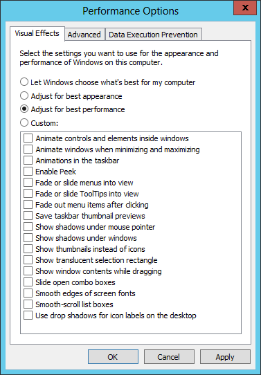 Disable all Visual Effects for best performance of your VM