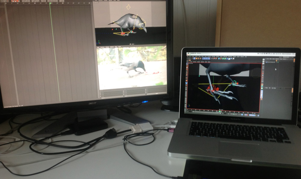 Temporary desk setup. Optimised scenes made animating on a laptop possible