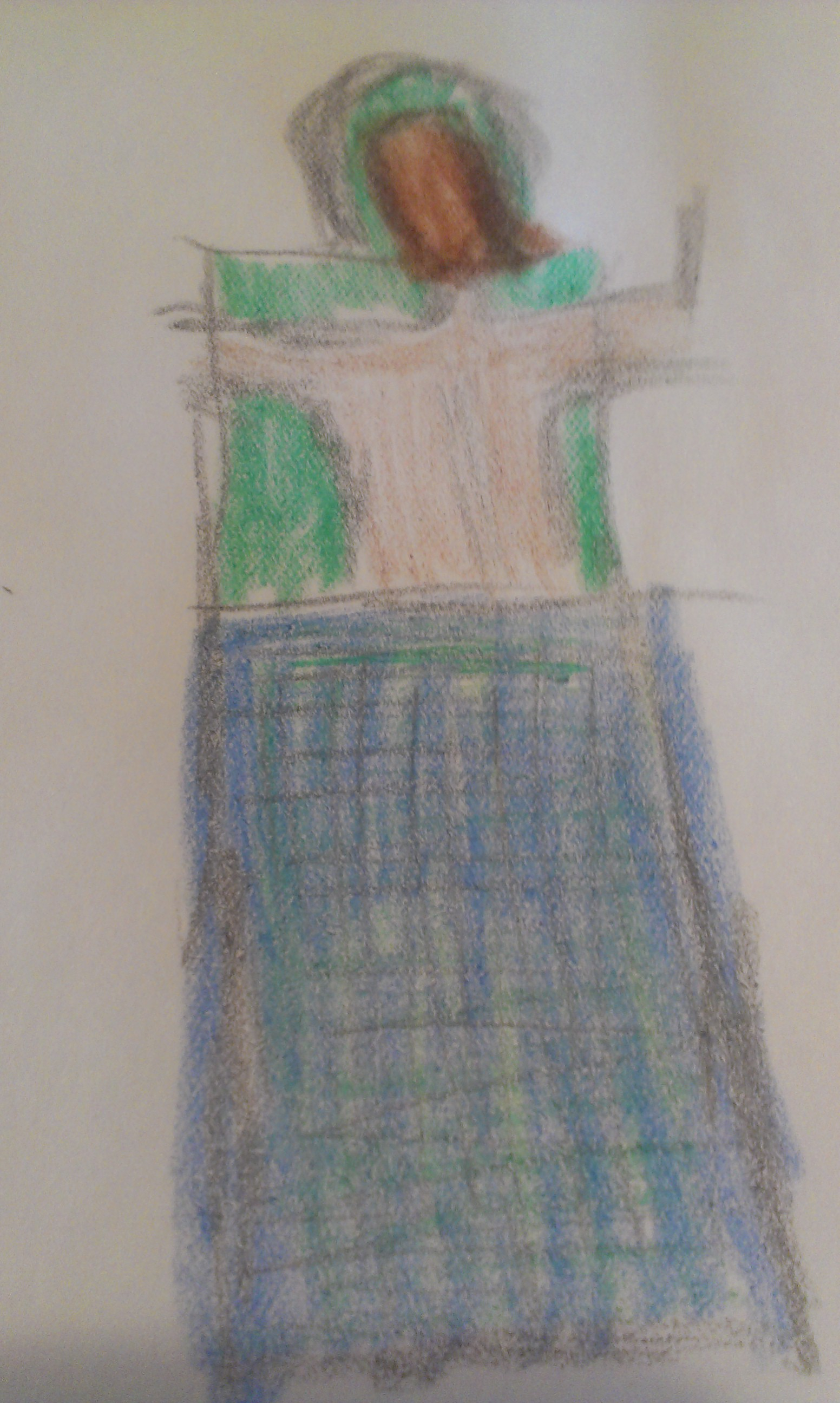 this is what back draping looks like drawn in crayon, excluding forearms and hands.