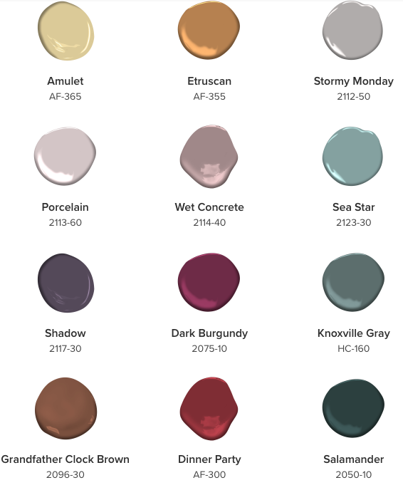 Here are some colors from the Benjamin Moore 2017 color trends. I see some of them in the above rug.