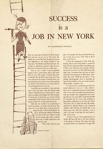 Andy Warhol's illustration debut (Age 21)  Success in a Job In New York,  Glamour Magazine.   ©  Image courtesy of The Andy Warhol Foundation for the Visual Arts, Inc