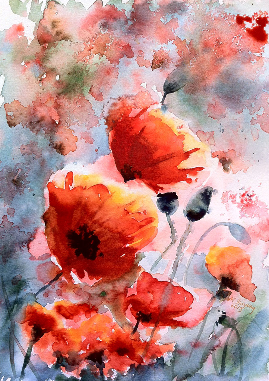 Poppy field - watercolor on watercolor paper (9 x 12 inches)