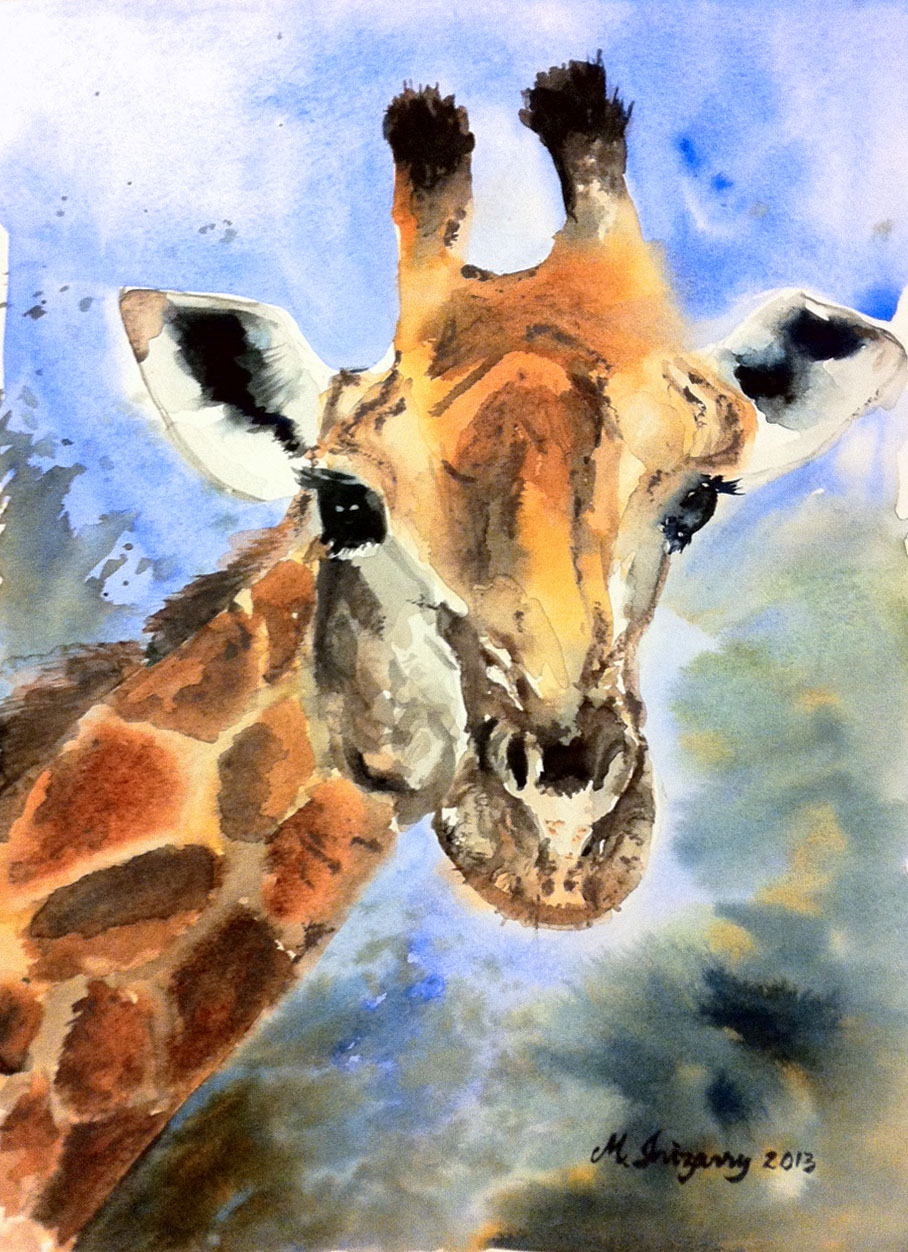 Giraffe - watercolor on watercolor paper (9x12 inches)