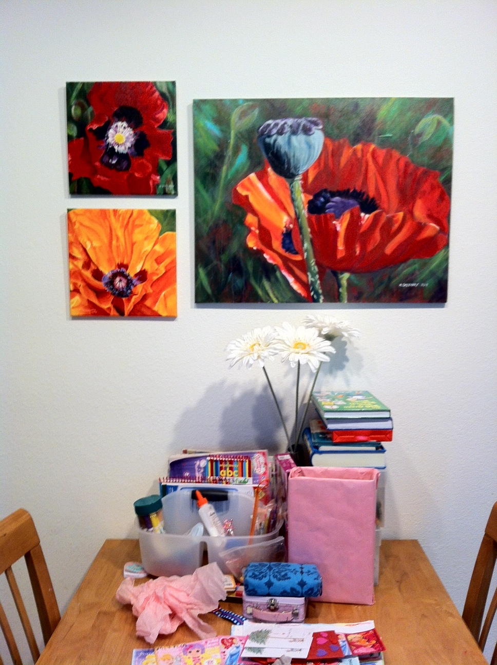 Poppy paintings - acrylics on gallery-wrapped canvas