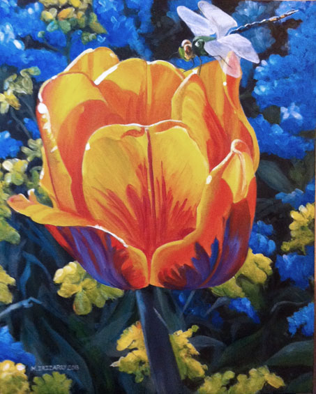 Tulip and dragonfly - acrylics on 22x28 inch gallery wrapped canvas