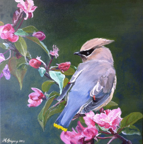 Waxwing and flowers - acrylics on 12x12 inch gallery-wrapped canvas (note that picture is not the best and shows some glare on the bottom left)