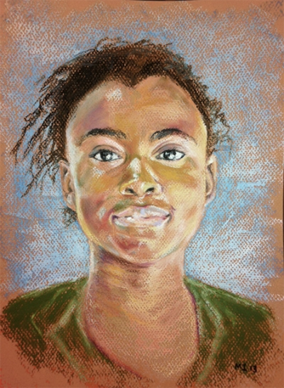 Teen girl - oil pastel on Canson Mi-Teintes paper (9x12 inches)