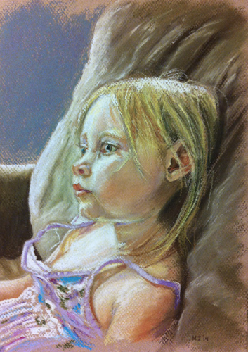 Little girl watching TV - oil pastel on Canson Mi-Teintes paper (9x12 inches)