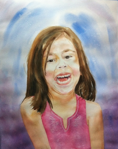 Valeria, my oldest - watercolor on watercolor paper (16x20 inches approx.)