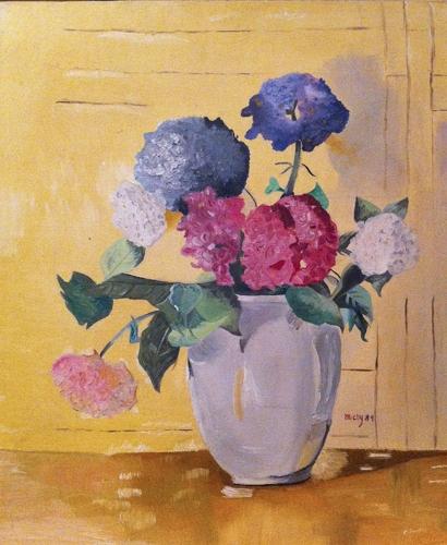 Hydrangeas - oil on canvas board (1989)