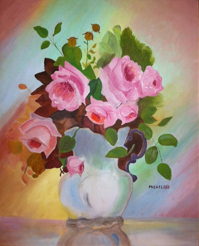 Roses in a vase - oil on canvas board (1988)