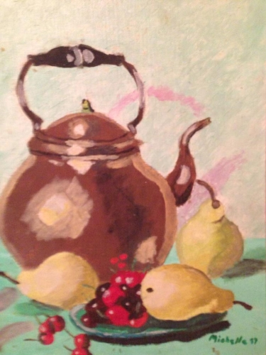 Still life with teapot - Oil on canvas board (1987)