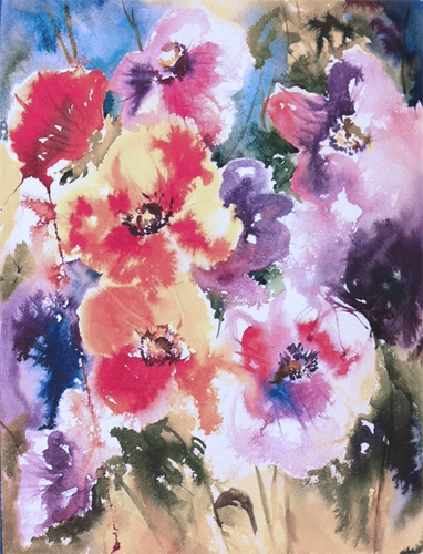 Anenomes - watercolor on watercolor paper (11x15 inches)