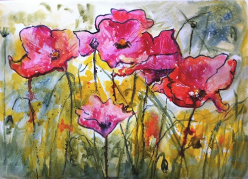 Poppies - watercolor on watercolor paper (15x11 inches)