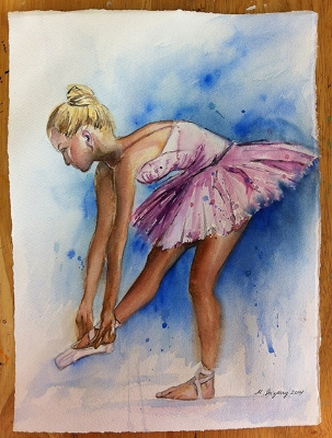 Ballerina - watercolor on watercolor paper (11x15 inches)