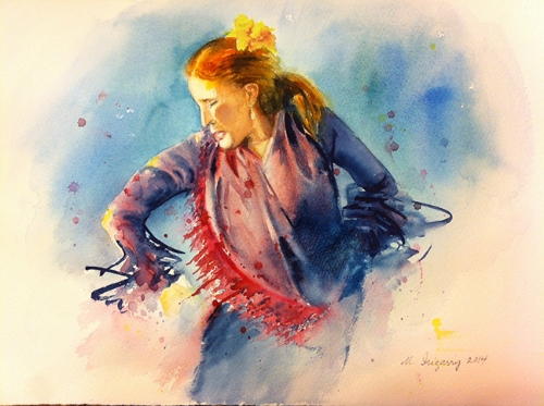 Flamenco lady - watercolor on paper (11x15 inches)