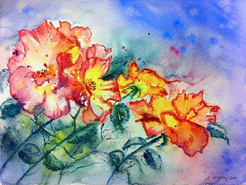 Roses - watercolor and watercolor pencil on watercolor paper (11x15 inches)