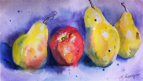 Three pears and an apple, watercolor on watercolor paper (6x11 inches approx.)