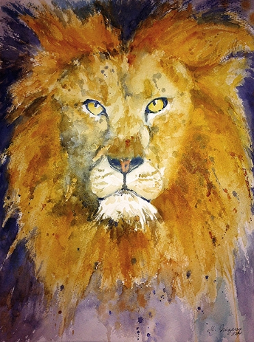 Bad hair day (Lion) - watercolor on watercolor paper (11x15 inches)