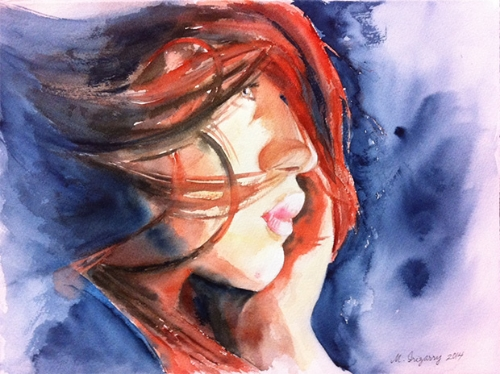 Redhead - watercolor on watercolor paper (11x15 inches0