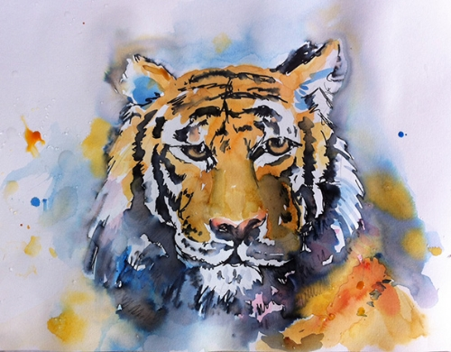Tiger - watercolor and Tombow marker sketch on watercolor paper (9x10 inches approx.)