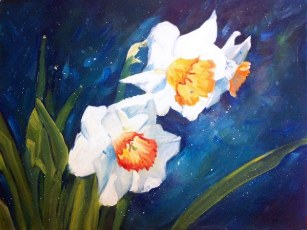 """Daffodils"", acrylics on watercolor paper (15x11 inches)"