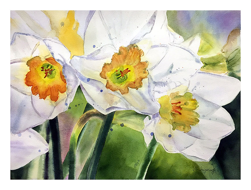 """Daffodil trio"", watercolor on watercolor paper (15x11 inches)"