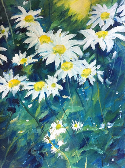 """Daisies"" - acrylic on watercolor paper (11x15 inches)"