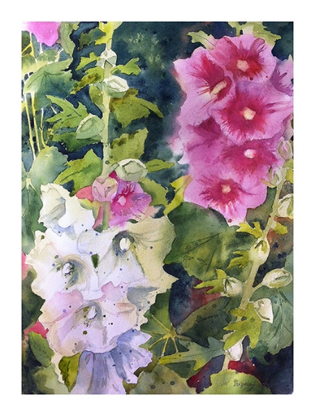 """Hollyhocks"" - watercolor on watercolor paper (11x15 inches)"