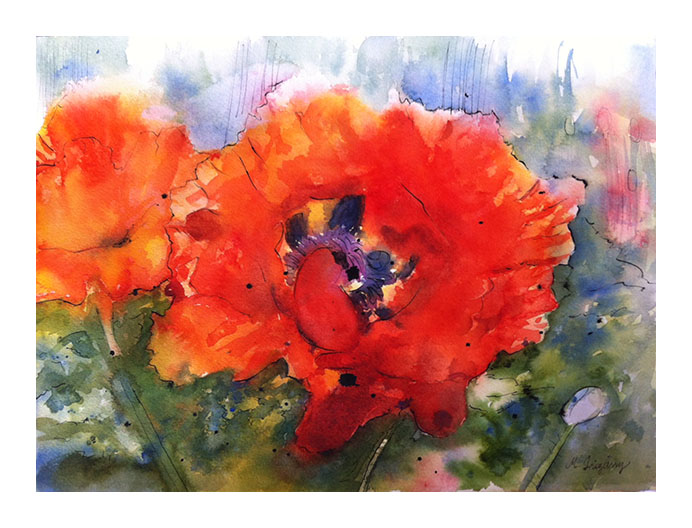 """Poppies"" - watercolor on watercolor paper (15x11 inches)"