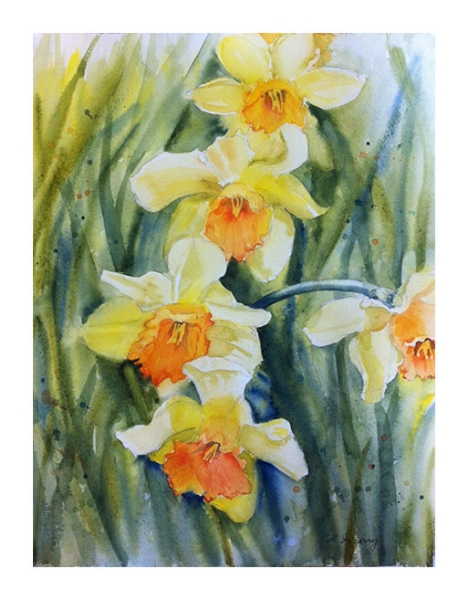 """Daffodils 2"" - watercolor on watercolor paper (11x15 inches)"