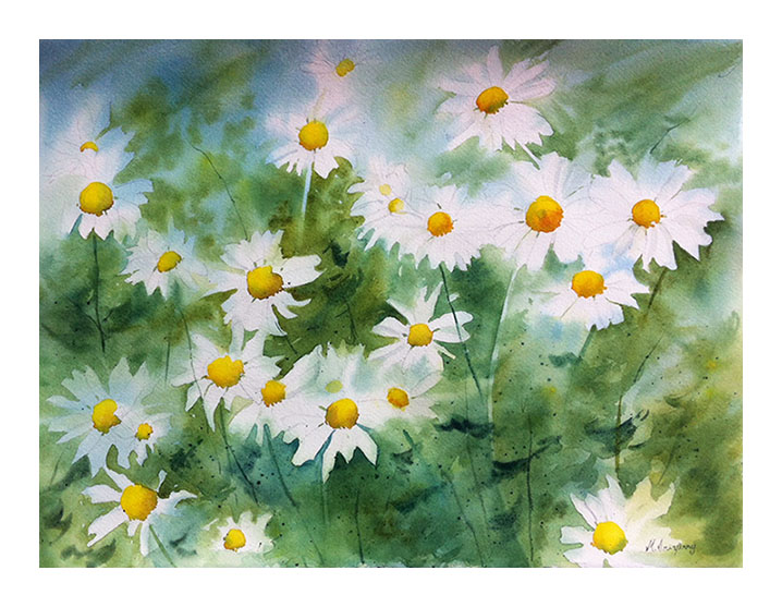 """Daisies II"" - watercolor on watercolor paper (15x11 inches)"