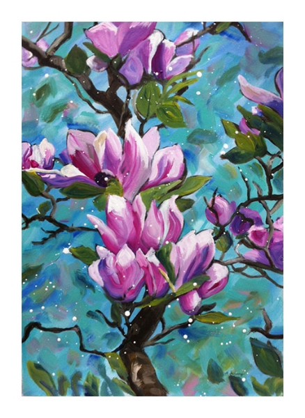 """Tulip Magnolia II"" - acrylic on watercolor paper (15x22 inches)"