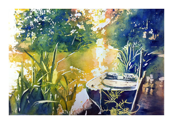 """WIP - """"Work in progress"""" of my poured painting after removing all the masking fluid"""