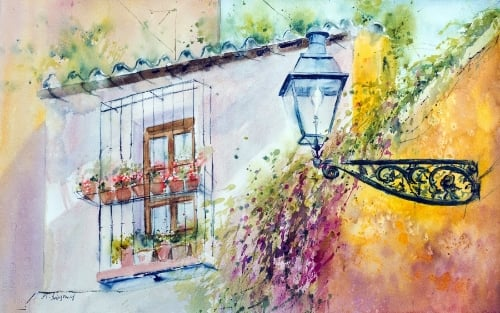 """""""Somewhere in Sevilla"""" - watercolor on watercolor paper (22x15 inches)"""